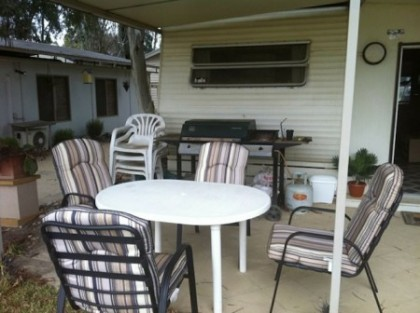 Before the outdoor BBQ area echuca moama build